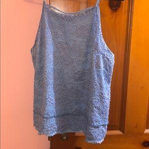 Blue Francesca's lace tank top